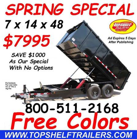 Photo 7 X 14 X 48 14 K Dump Trailer Heavy Duty Dump Trailers Direct (Power Jack Option Available)