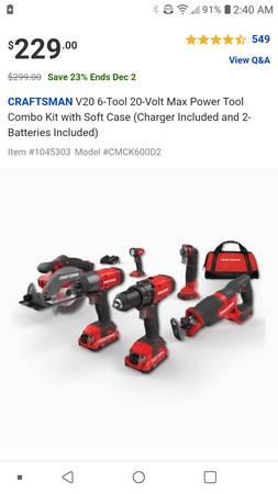 Photo Craftsman power tool set - $225 (pulaski)