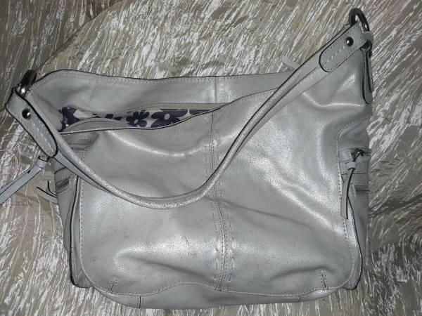 Photo NINO BOSSI handbag pearl white distressed leather EC - $25 (Rural Hall)