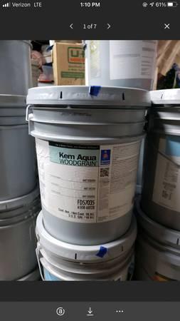Photo 5 Gallon Bucket Sherwin-Williams Kem Aqua Woodgrain NWT Sequoia. - $25 (Mooresville)