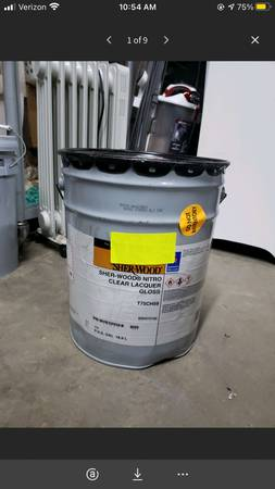 Photo 5 Gallon Bucket of Sherwin-Williams SHER-WOOD Nitro Clear Lacquer Glos - $25 (Mooresville)