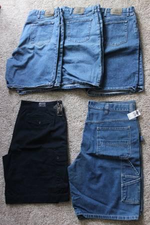Photo 5 Pair Men39s 42 Waist Shorts - 2 New  3 Used - Wrangler - Jeans Blue - $30 (Weaverville)