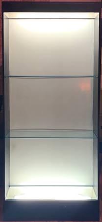 Photo BLACK DISPLAY CASE (S) W GLASS SHELVES  LIGHTING - BACK DROP - $175 (Rock Hill)