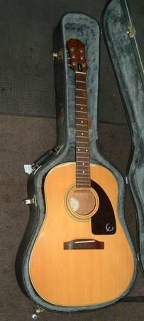 Photo Epiphone Acoustic Guitar  Broken Headstock  TKL Hard Case - $75 (Madison)
