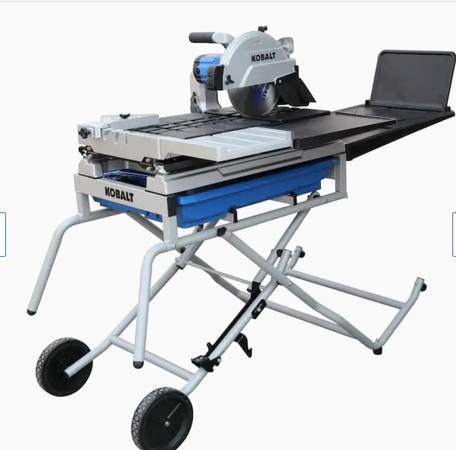 Photo Kobalt 10-in 15-Amp Wet Tabletop Sliding Table Tile Saw with Stand - $450 (BooneBlowing Rock)