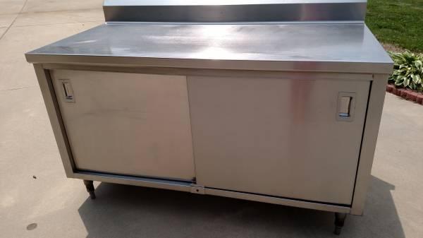 Photo NSF Heavy Duty Stainless Steel Work Table wbacksplash  shelf cabinet - $1,150 (Salisbury)