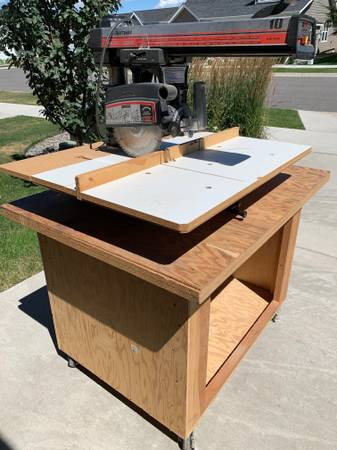 Photo Craftsman 10quot Radial Arm Saw and Rolling Storage Cart - $150 (Bozeman)