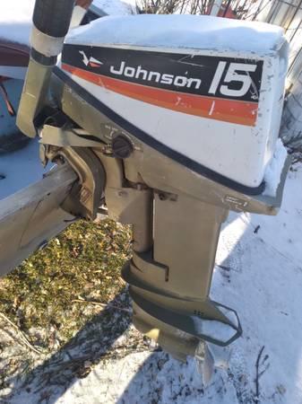 Photo 14 FT Lund Aluminum Boat, 15hp Johnson Seahorse motor, trailer - $750 (Brainerd)