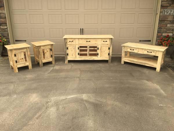 Photo Handmade Custom Rustic Blue Pine Living Room Furniture Set - cabin - $1,000