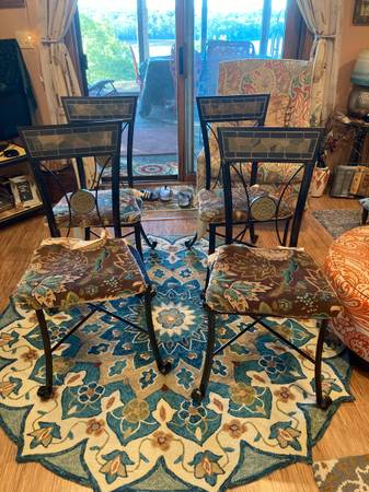 Photo SET of 4 Pier 1 Black Heavy Metal Dining Chairs w Pier 1 Cushions - $295