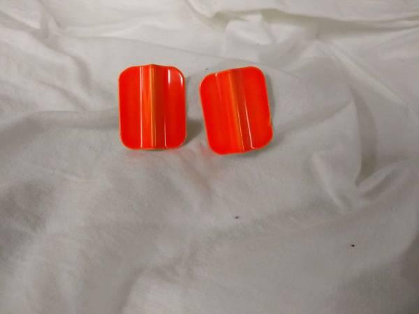 Photo Vintage-198039s Neon Orange Neon Pierced Earrings - $10