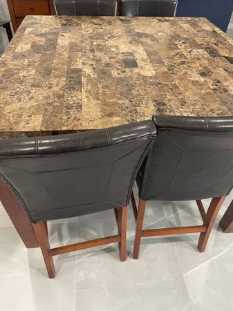Photo 54x54 counter height dining table set w6 chairs and server - $1,000 (Brownsville)