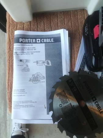 Photo Porter Cable 18V tool set drill, 6.5 circular saw, reciprocal saw, etc - $180 (UTSA)