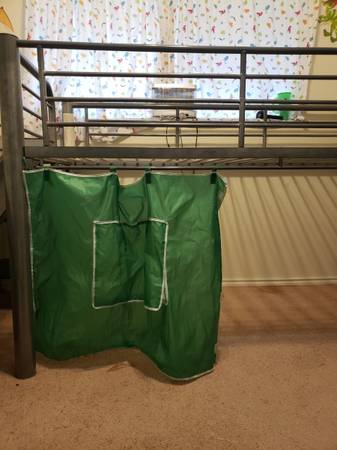 Photo Twin loft bed with slide and shelves - $250 (Brownsville)