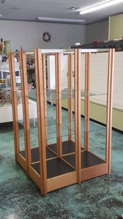 Photo Wood and Glass Shelves Display Fixture - $150 (Brownsville)