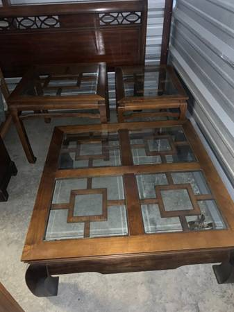 Photo 3 Piece Solid Wood Set with Glass Inserts - $200 (Mariners Suites Kingsland, GA)