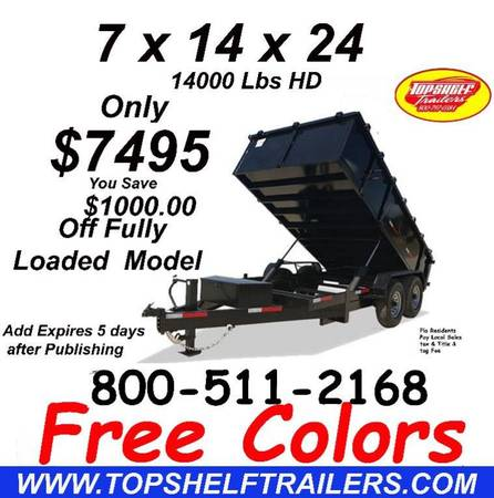 Photo 7 X14 X24 14 K Dump Trailer Heavy Duty Dump Trailers Direct (28 Years Building Dump Trailers)
