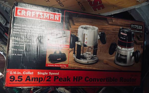 Photo 9.52 peak HP Convertable Router by Craftsman new in box - $100 (Buffalo)