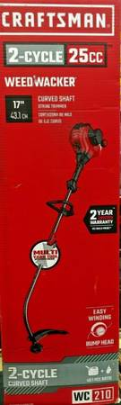 Photo CRAFTSMAN WC210 25-cc 2-Cycle 17-in Curved Shaft Gas String Trimmer Ed - $80 (williamsville)