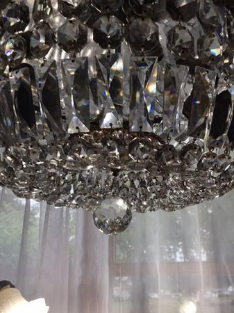Photo Halcolite Vintage Crystal Semi-flush Chandelier - $100