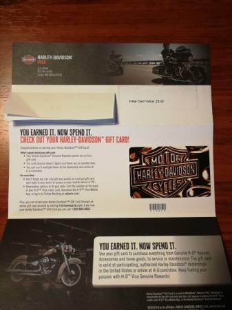Photo Harley-Davidson Gift Card $125 card value - $100 (LancasterElma)