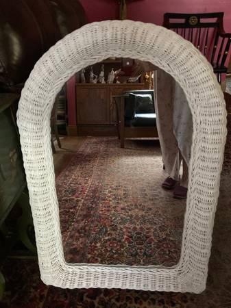 Photo Mirror Big White Wicker Wall Boho Arch Vanity Boho Pier One 1 Cottage - $40 (Amherst)