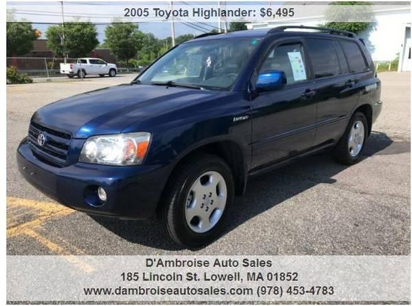 Photo 2005 Toyota Highlander Limited w3rd Row, 1 OWNER, 90 DAY WARRANTY - $6495 (LOWELL, MA 978-996-5798)
