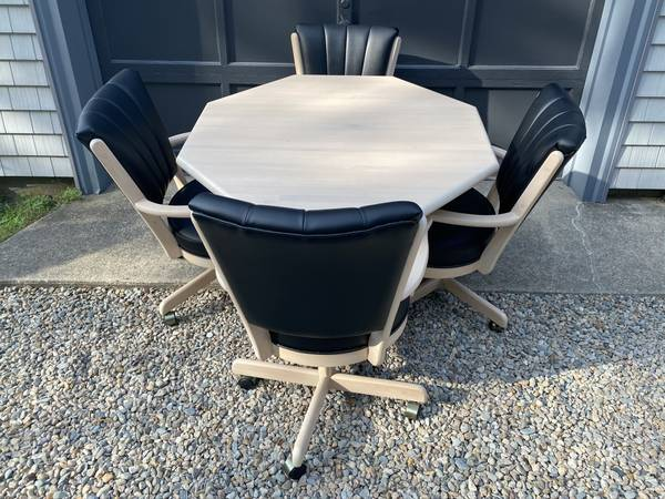 Photo 4 Rolling Chairs with Black Vinyl and Table - $400 (Buzzards bay)