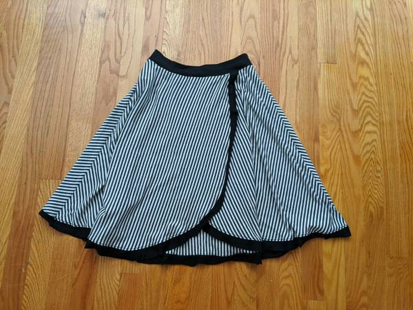 Photo Bamboo High Waisted Knee Length Black and White Striped Skirt - $15