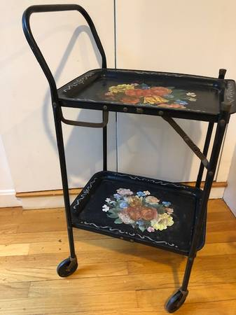 Photo Cute Vintage Rolling cart with 2 removable metal trays - $52 (cotuit)