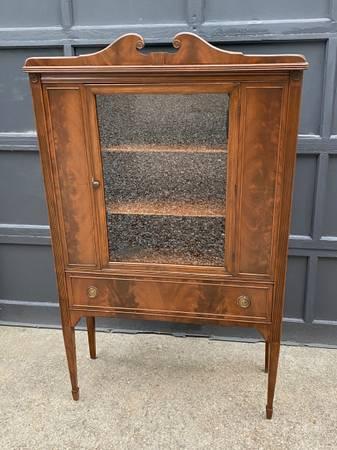 Photo Mahogany glass front Bookcase Cabinet - $325 (Buzzards bay)