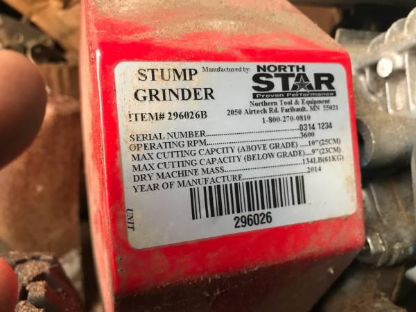 Photo North Star Stump Grinder - $900 (osterville)