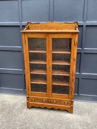 Photo Oak Bookcase with four shelves glass front - $450 (Buzzards bay)