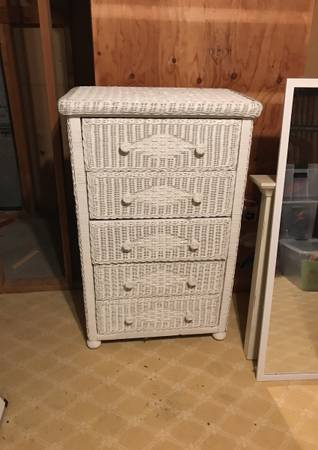 Photo white wicker dresser - $75 (South Yarmouth)