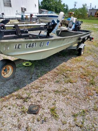 Photo 14 ft Landau Jon Boat W 15hp Mercury Tiller Handle Electric Start Motor - $1,600 (Mount Vernon)