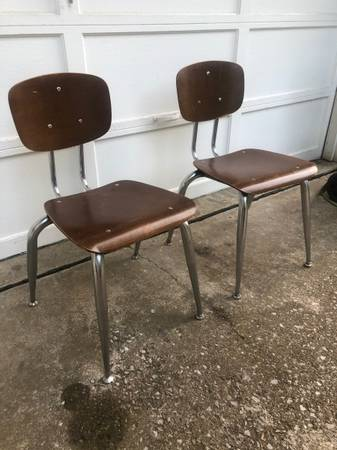 Photo (2) vintage wooden children39s school chairs - chrome legs - matching - $25 (OBO - Carbondale, IL)