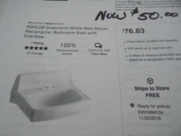 Photo (3) kohler white porcelain wall bath sinks - $40 (Patton mo.)