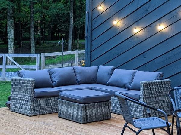 Photo 4-Piece Metal Frame Outdoor Patio Furniture Set with Cushions - $875 (Woodstock)