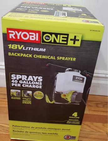 Photo Ryobi 4 gallon backpack sprayer. W battery  charger. - $120 (eldred)