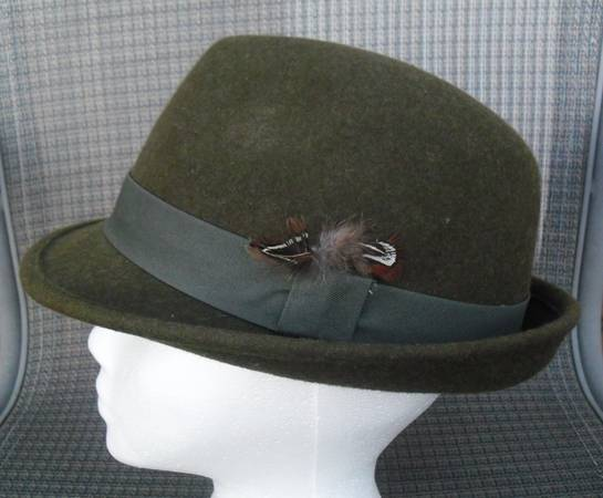 Green Olive Wool Fedora Hat Cap - Great for St. Patrick39s Day - $15 (Cedar Rapids)