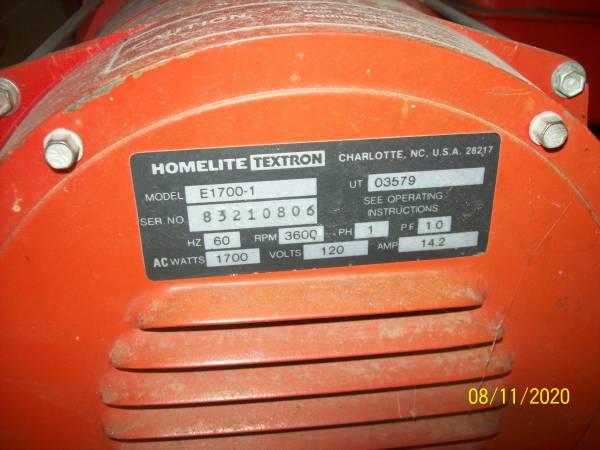 Photo Homelite Textron Generator - $400 (Hazleton, Iowa)
