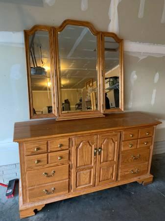 Photo Oak dresser w mirror - $175 (Marion)