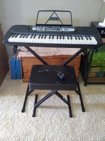 Photo RockJam RJ 654 Electronid Keyboard  Stand  Stool - $80 (Riverside)