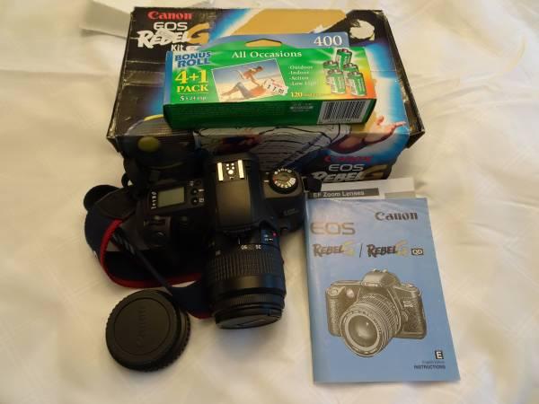 Photo Canon EOS Rebel G 35mm SLR Film Camera w Canon 35-80mm Lens - $50 (Whitehall, Michigan)