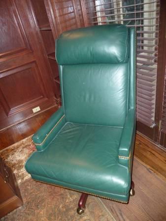 Photo Desk Chair-Swivel, Tilt, Leather - $500 (Lake MI (near Clare))