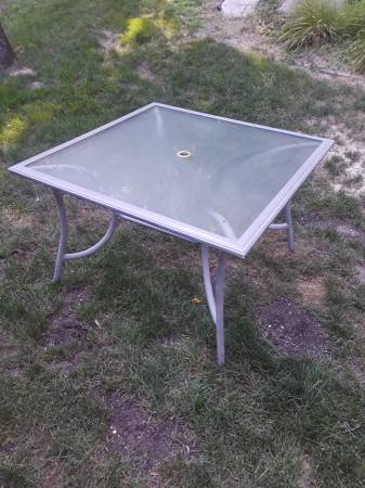 Photo Glass Top Patio Table - $15 (Owosso)