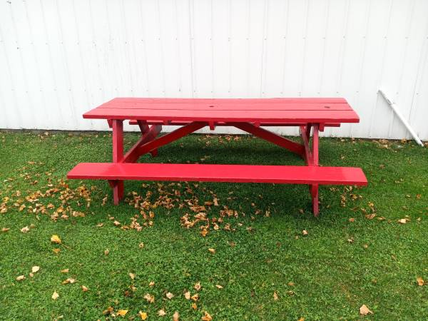 Photo PICNIC TABLE RED HEAVY QUALITY WOOD 2 1239 x 839 TABLE SAW,  MUCH MORE - $99 (Mt Pleasant)