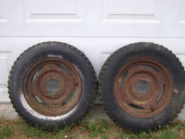 Photo Sears David Bradley Walk Behind Tractor Wheels With Tires - $90 (Blanchard)