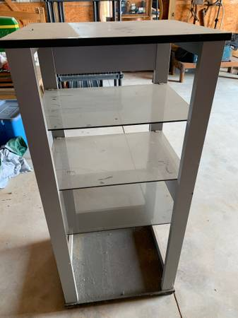 Photo Stand for TV, stereo equipment, glass shelves - $15 (Ithaca)