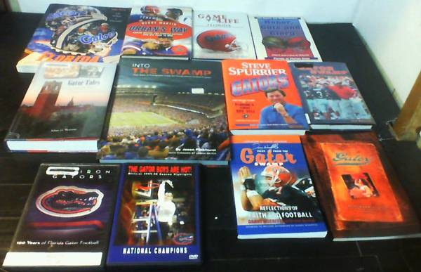 Photo 10 Books  2 DVDs All about the FLORIDA GATORS and the Sw - $20 (KISSIMMEE)